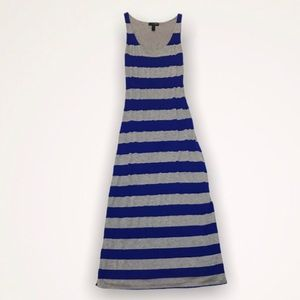 AQUA Blue And Gray Striped Maxi Dress